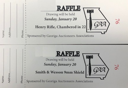 Transfer will occur in accordance with Georgia State Laws by a licensed and approved firearms dealer.  If winner does not meet legal requirements winning raffle ticket is null and void.